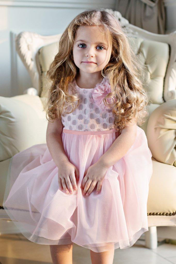 Różowa sukienka chrzciny roczek 5.10.15