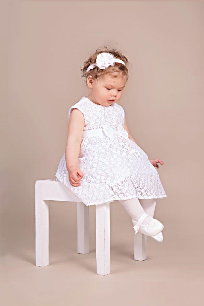 Biała sukienka chrzciny roczek 5.10.15