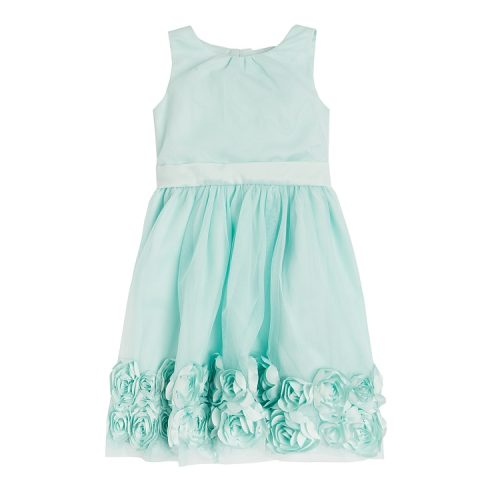 Sukienka miętowa błękitna kwiaty SMYK
