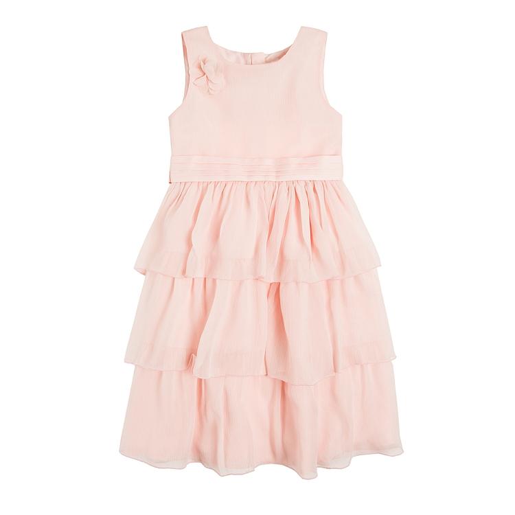 Różowa sukienka z falbankami tiulowa SMYK