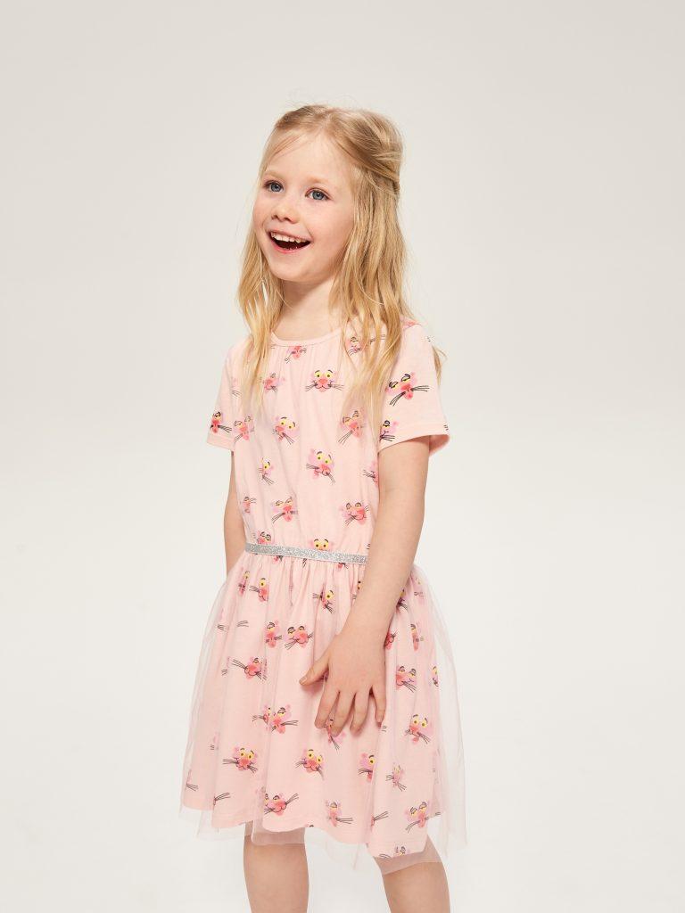 Różowa sukienka z różową panterą Reserved