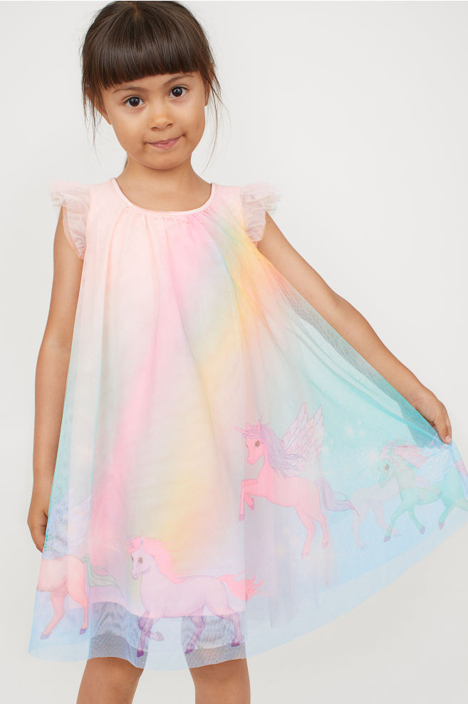 Tęczowa sukienka tiulowa H&M