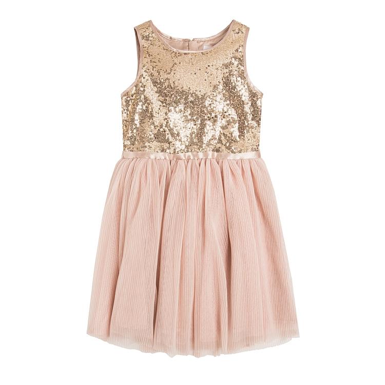 Złota różowa sukienka dla dziewczynki marki SMYK